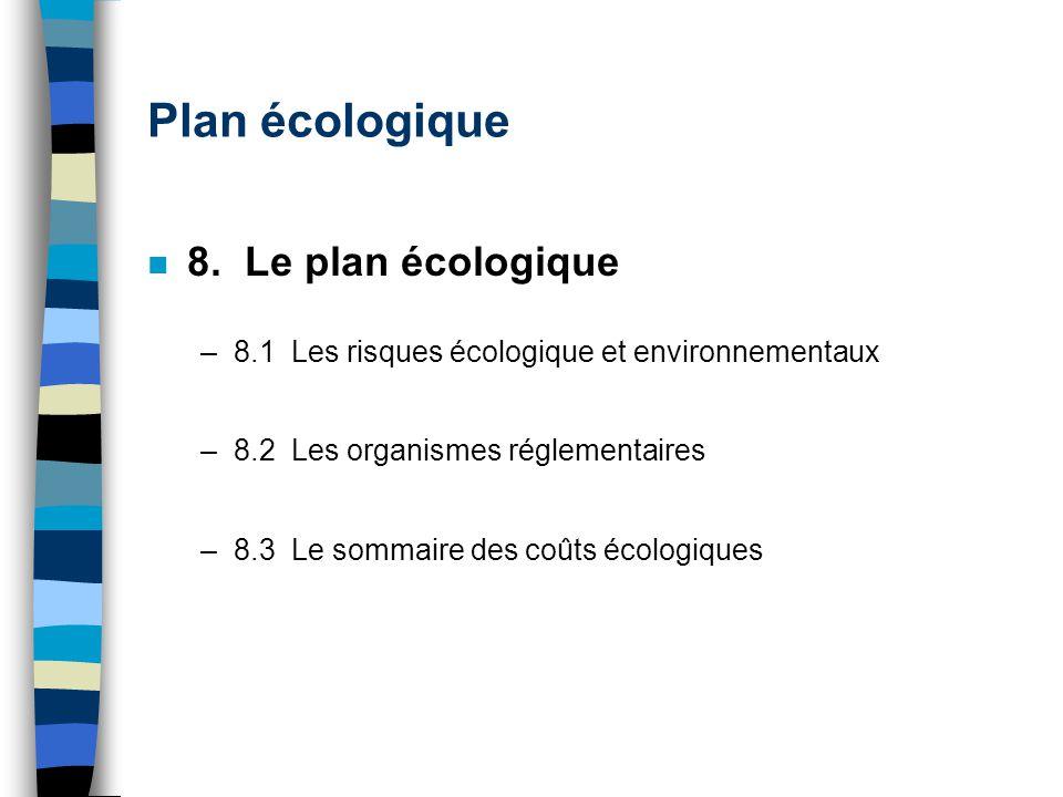 Plan écologique 8. Le plan écologique