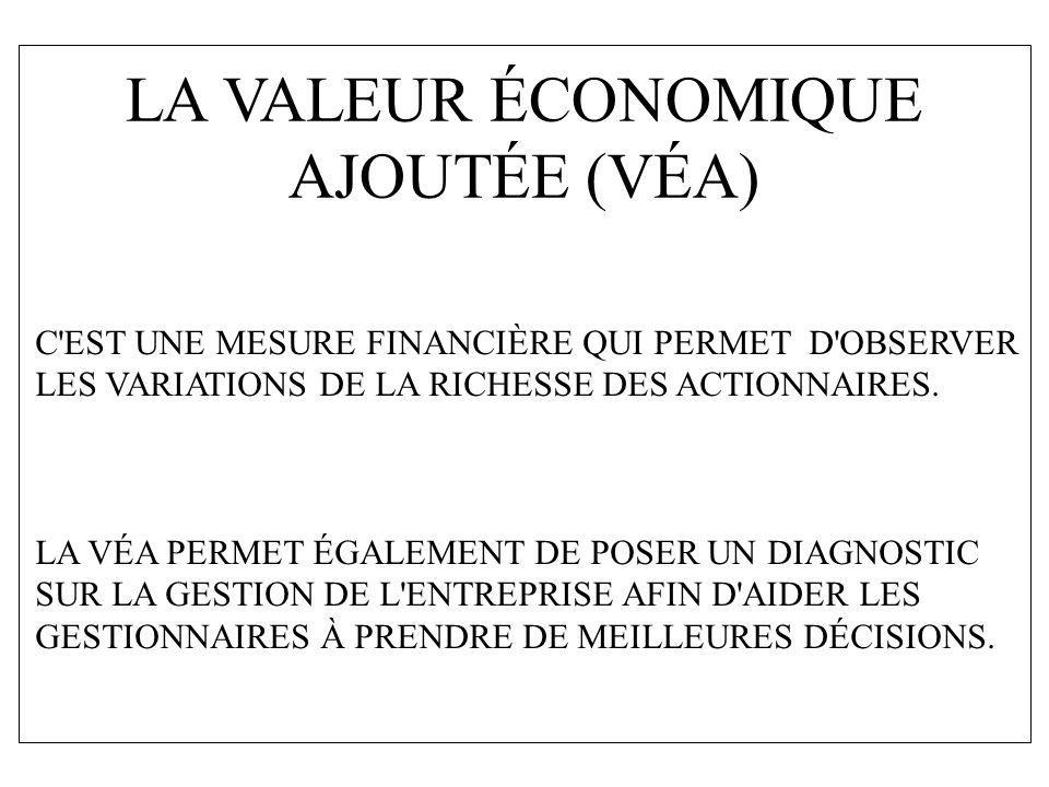 LA VALEUR ÉCONOMIQUE AJOUTÉE (VÉA)