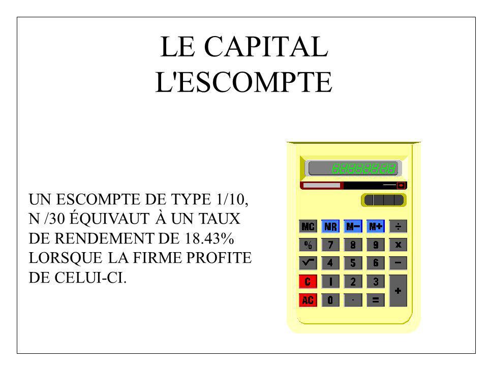 LE CAPITAL L ESCOMPTE UN ESCOMPTE DE TYPE 1/10,