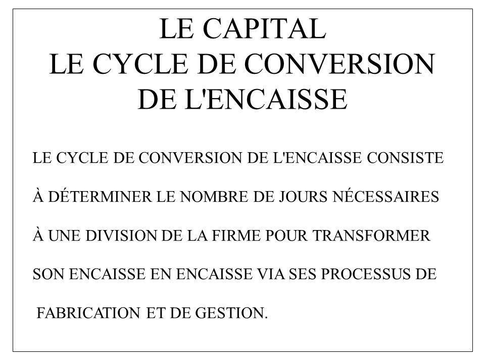 LE CAPITAL LE CYCLE DE CONVERSION DE L ENCAISSE