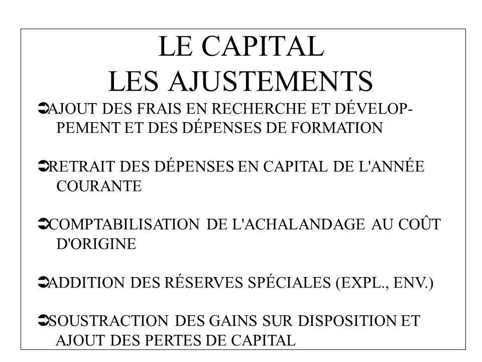 LE CAPITAL LES AJUSTEMENTS