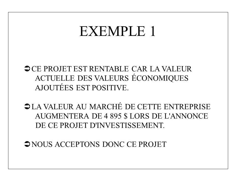 EXEMPLE 1 CE PROJET EST RENTABLE CAR LA VALEUR