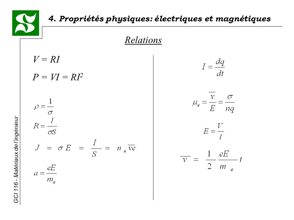 Relations V = RI P = VI = RI2