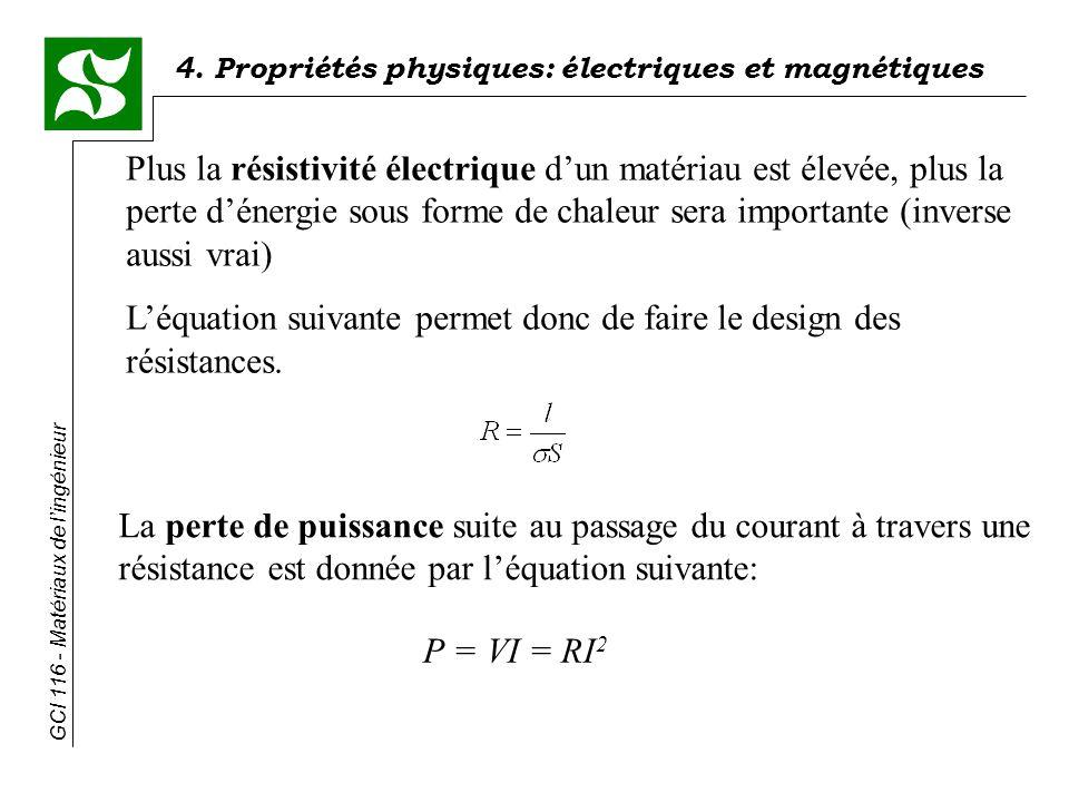 Plus la résistivité électrique d'un matériau est élevée, plus la perte d'énergie sous forme de chaleur sera importante (inverse aussi vrai)