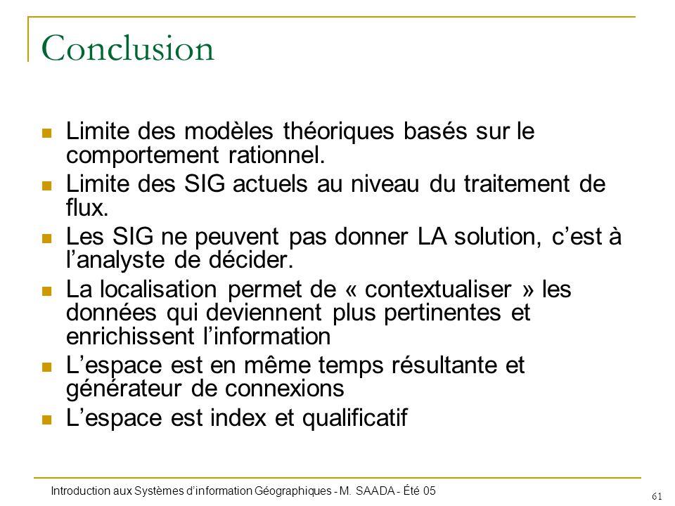 Conclusion Limite des modèles théoriques basés sur le comportement rationnel. Limite des SIG actuels au niveau du traitement de flux.
