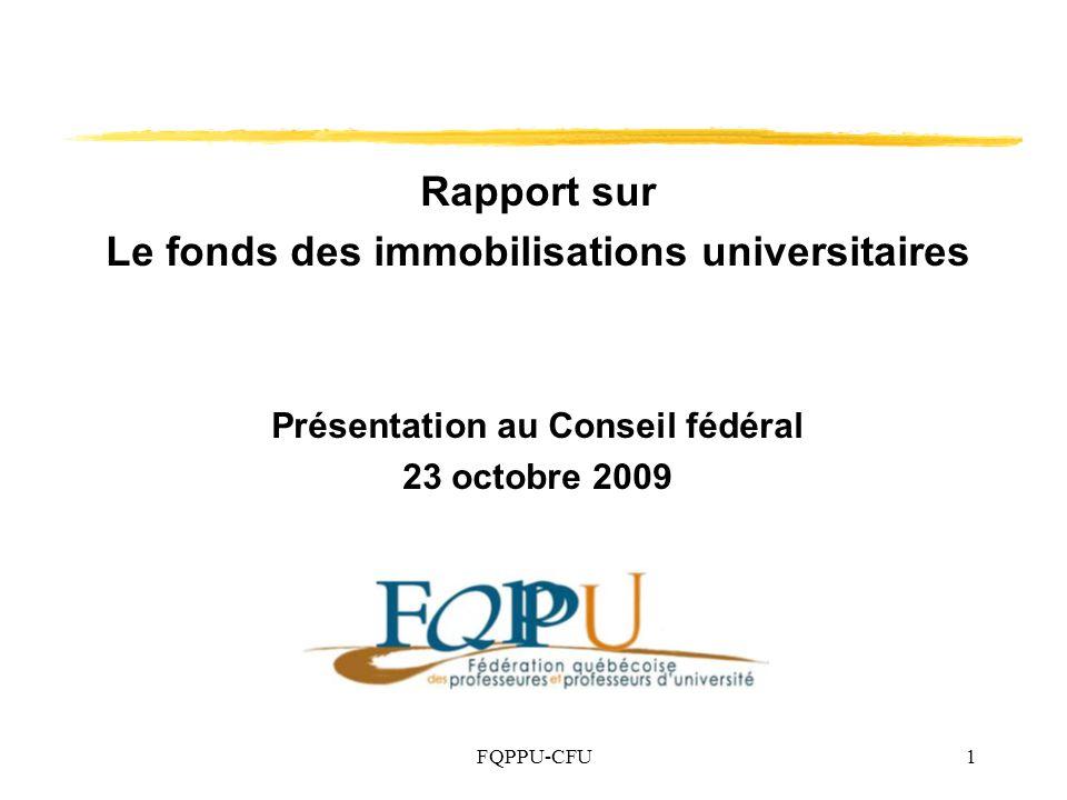 Rapport sur Le fonds des immobilisations universitaires