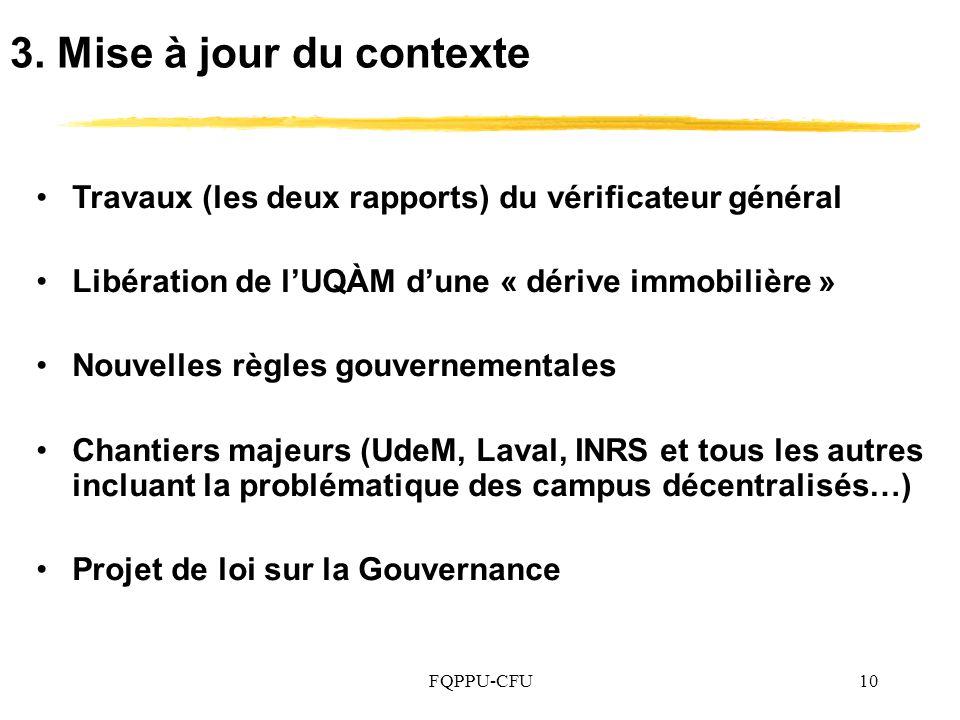 3. Mise à jour du contexte Travaux (les deux rapports) du vérificateur général. Libération de l'UQÀM d'une « dérive immobilière »