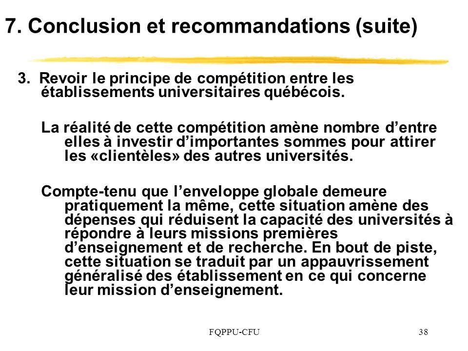 7. Conclusion et recommandations (suite)