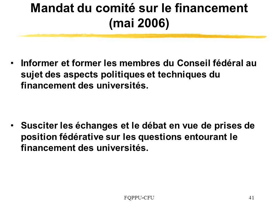 Mandat du comité sur le financement (mai 2006)