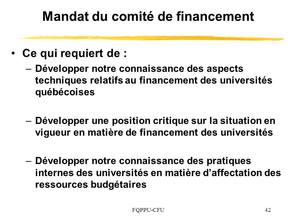 Mandat du comité de financement