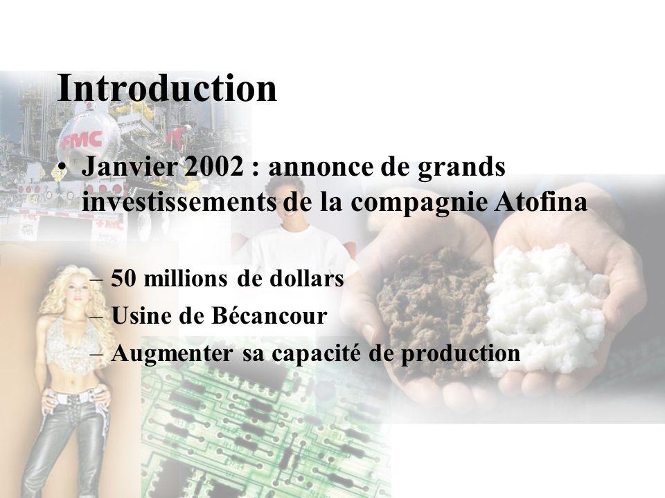 Introduction Janvier 2002 : annonce de grands investissements de la compagnie Atofina. 50 millions de dollars.