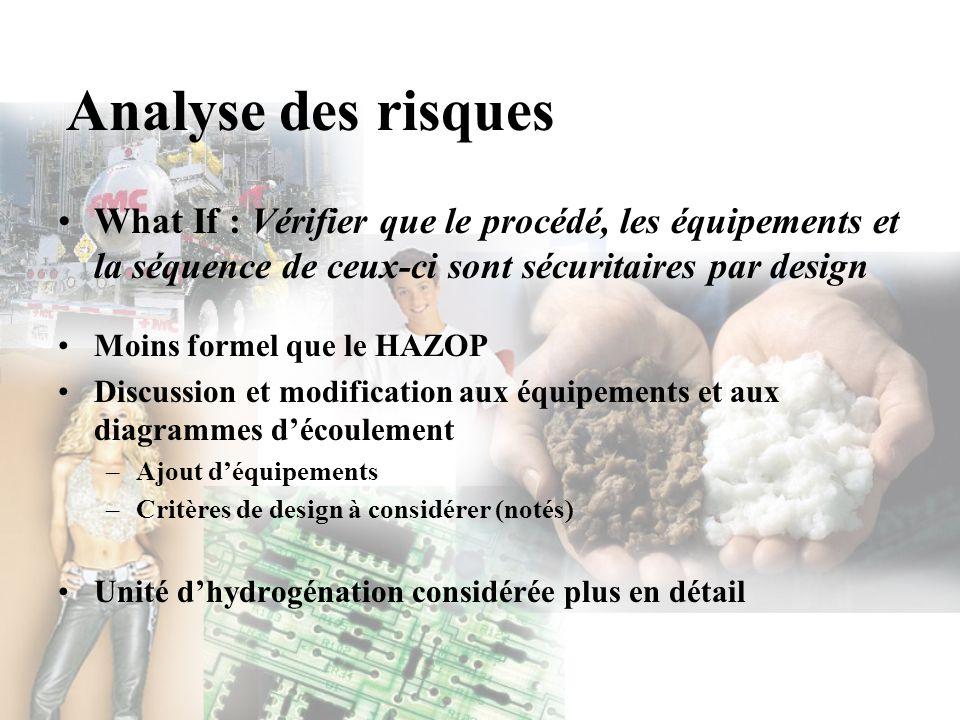 Analyse des risques What If : Vérifier que le procédé, les équipements et la séquence de ceux-ci sont sécuritaires par design.