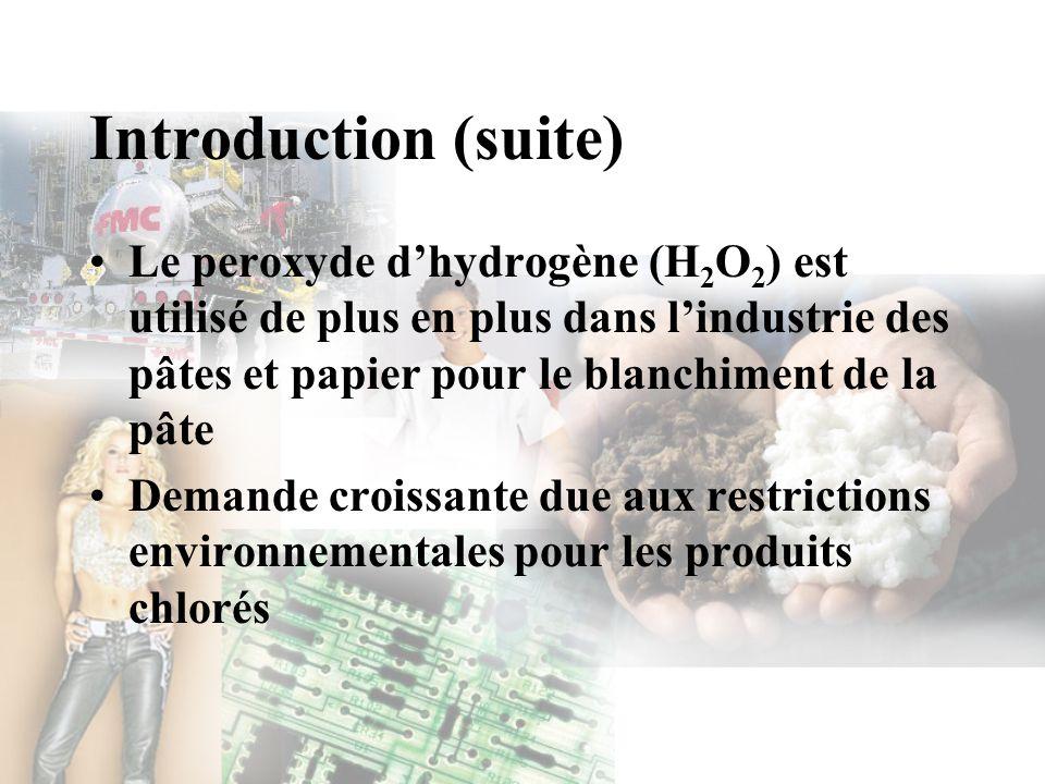Introduction (suite) Le peroxyde d'hydrogène (H2O2) est utilisé de plus en plus dans l'industrie des pâtes et papier pour le blanchiment de la pâte.