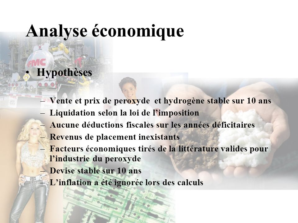 Analyse économique Hypothèses