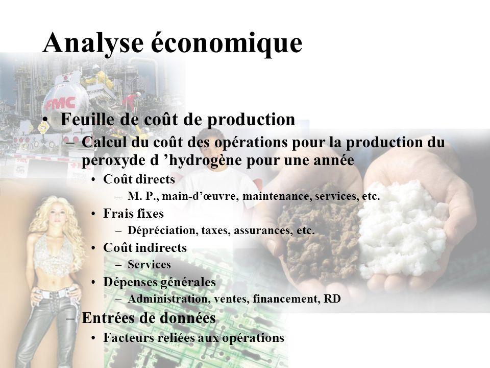 Analyse économique Feuille de coût de production