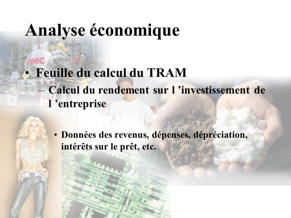 Analyse économique Feuille du calcul du TRAM