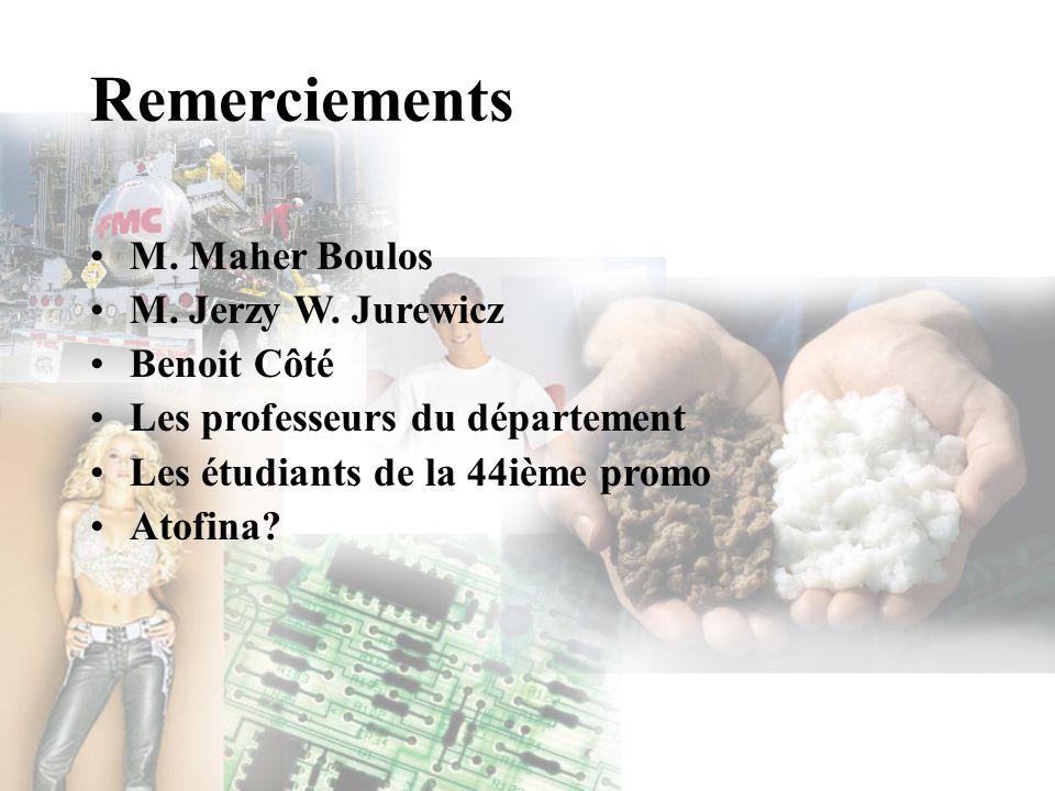 Remerciements M. Maher Boulos M. Jerzy W. Jurewicz Benoit Côté
