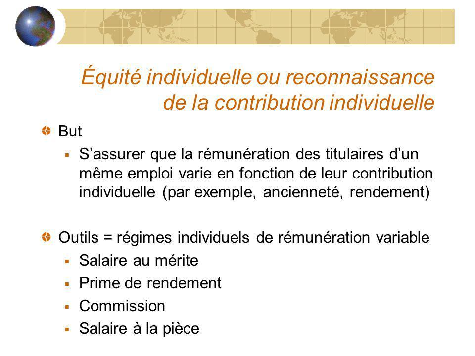 Équité individuelle ou reconnaissance de la contribution individuelle