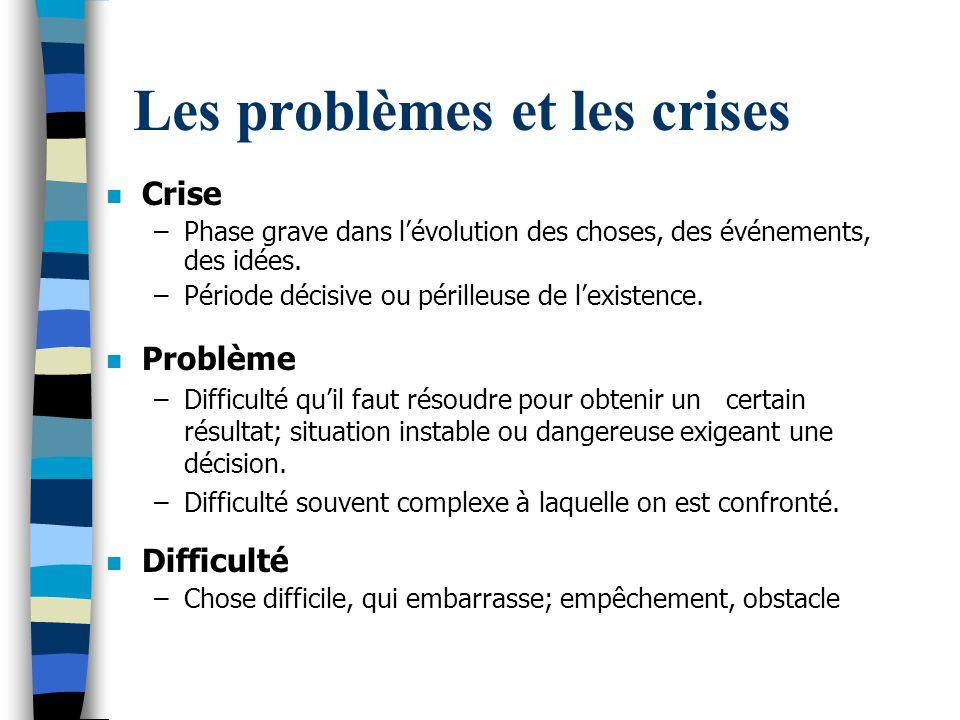Les problèmes et les crises