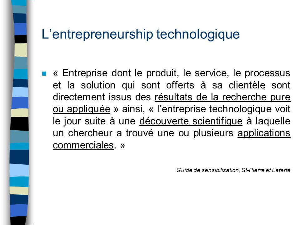 L'entrepreneurship technologique