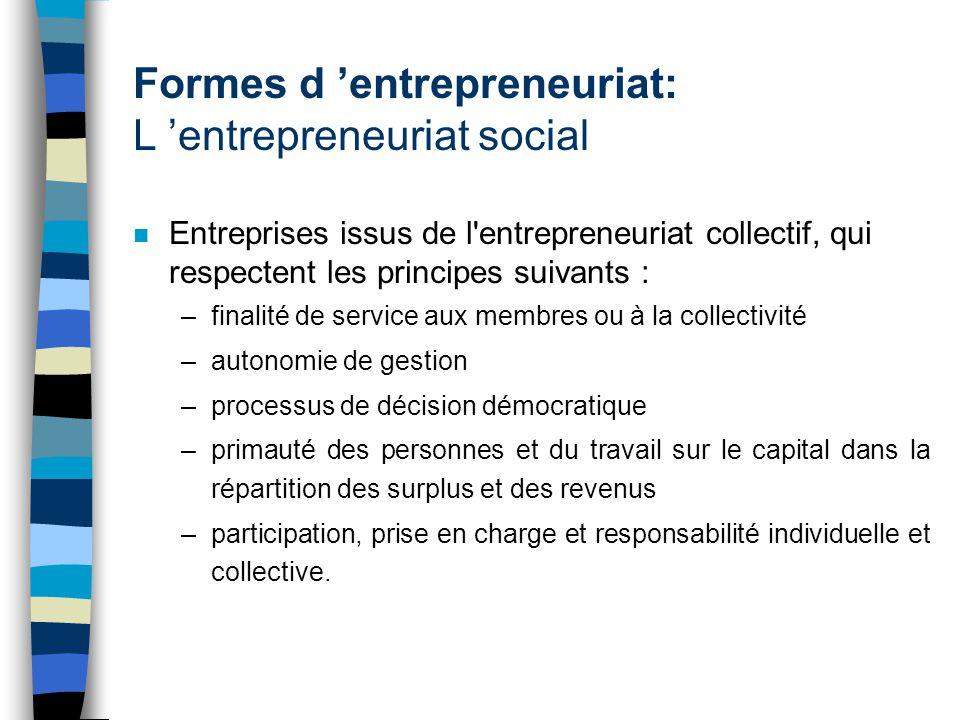 Formes d 'entrepreneuriat: L 'entrepreneuriat social