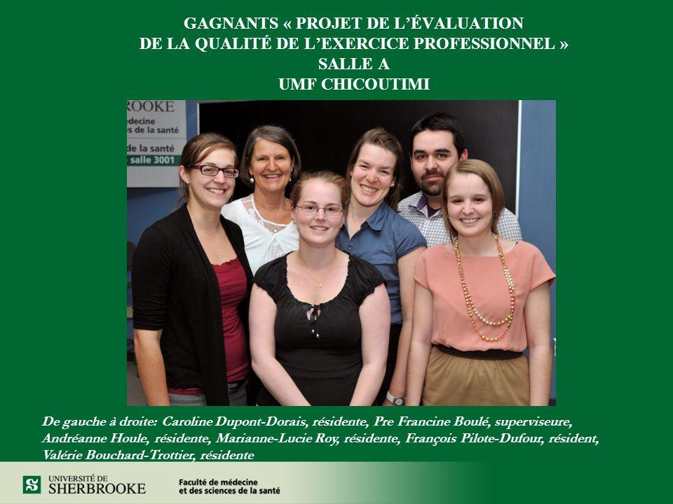 GAGNANTS « PROJET DE L'ÉVALUATION DE LA QUALITÉ DE L'EXERCICE PROFESSIONNEL » SALLE A UMF CHICOUTIMI Rénale Chronique à l'UMF Saguenay