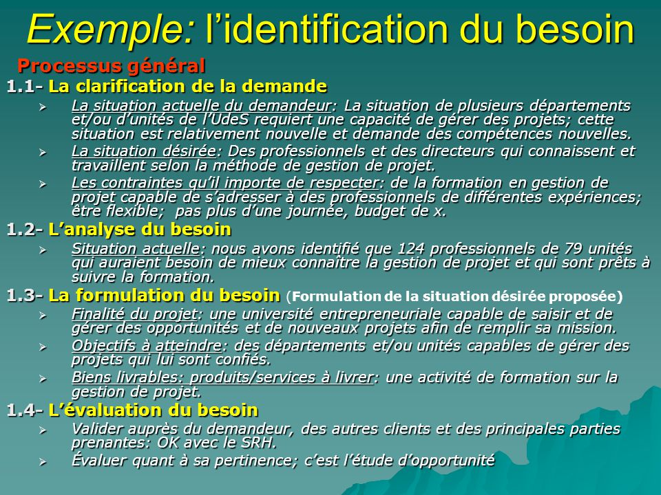 Exemple: l'identification du besoin
