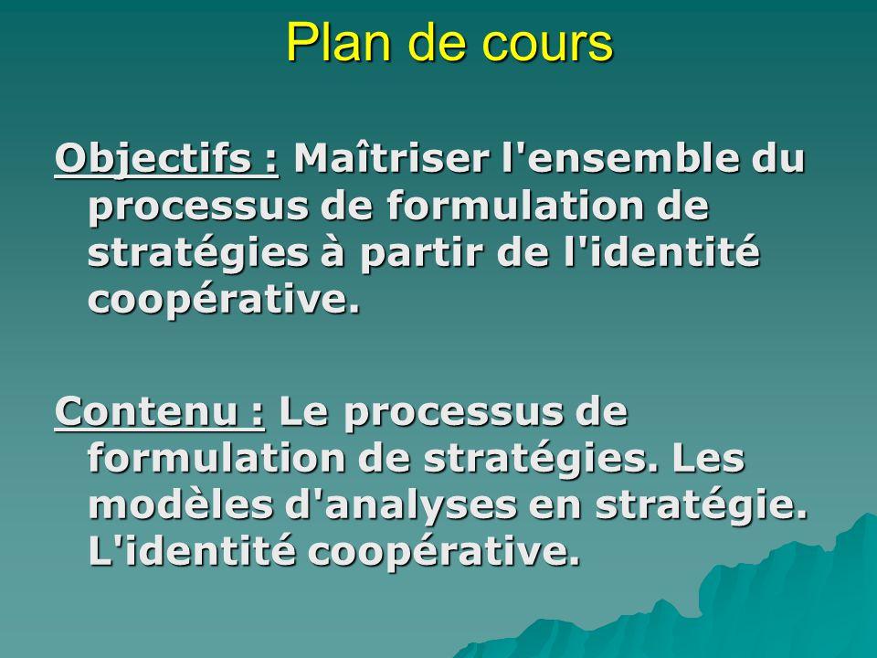 Plan de cours Objectifs : Maîtriser l ensemble du processus de formulation de stratégies à partir de l identité coopérative.