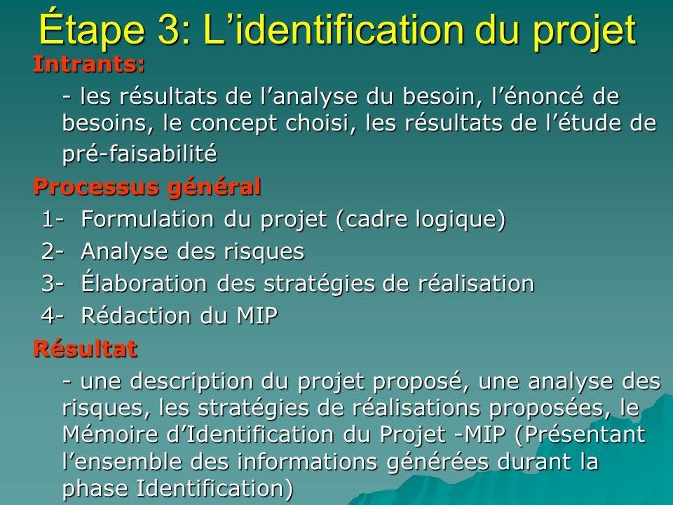 Étape 3: L'identification du projet