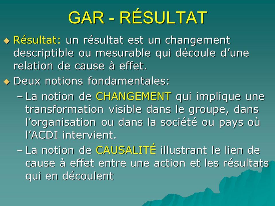 GAR - RÉSULTAT Résultat: un résultat est un changement descriptible ou mesurable qui découle d'une relation de cause à effet.