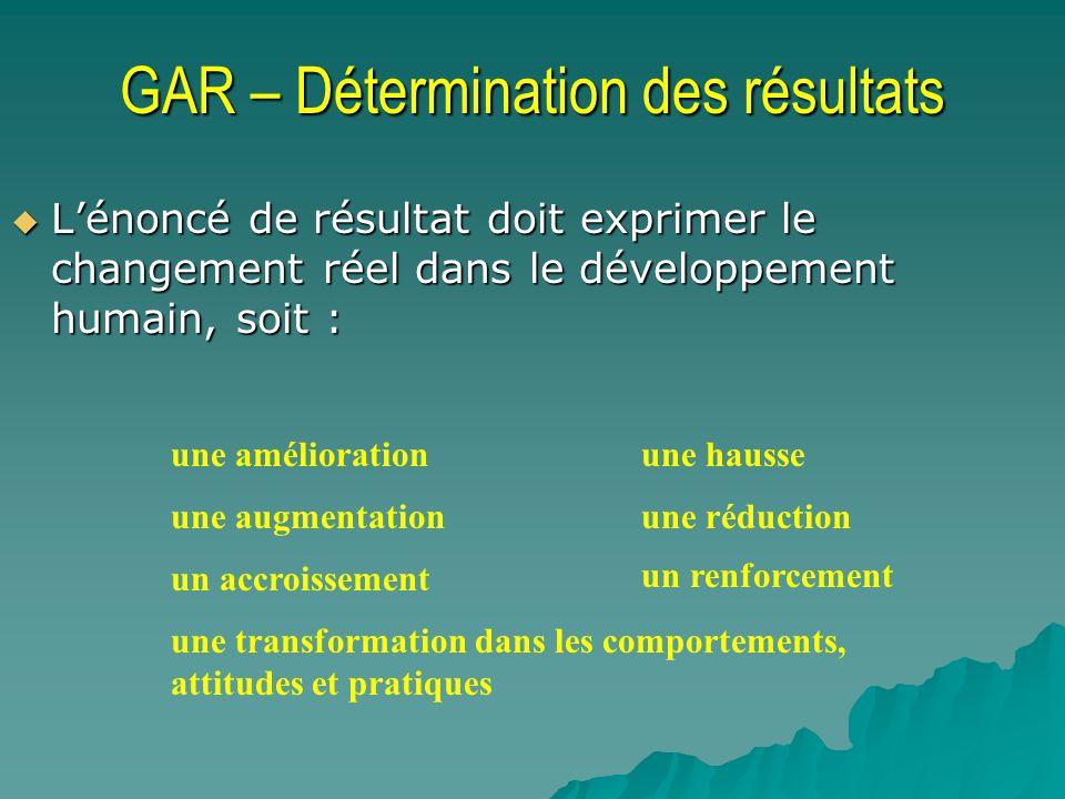 GAR – Détermination des résultats