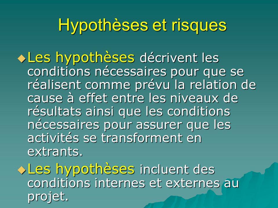 Hypothèses et risques