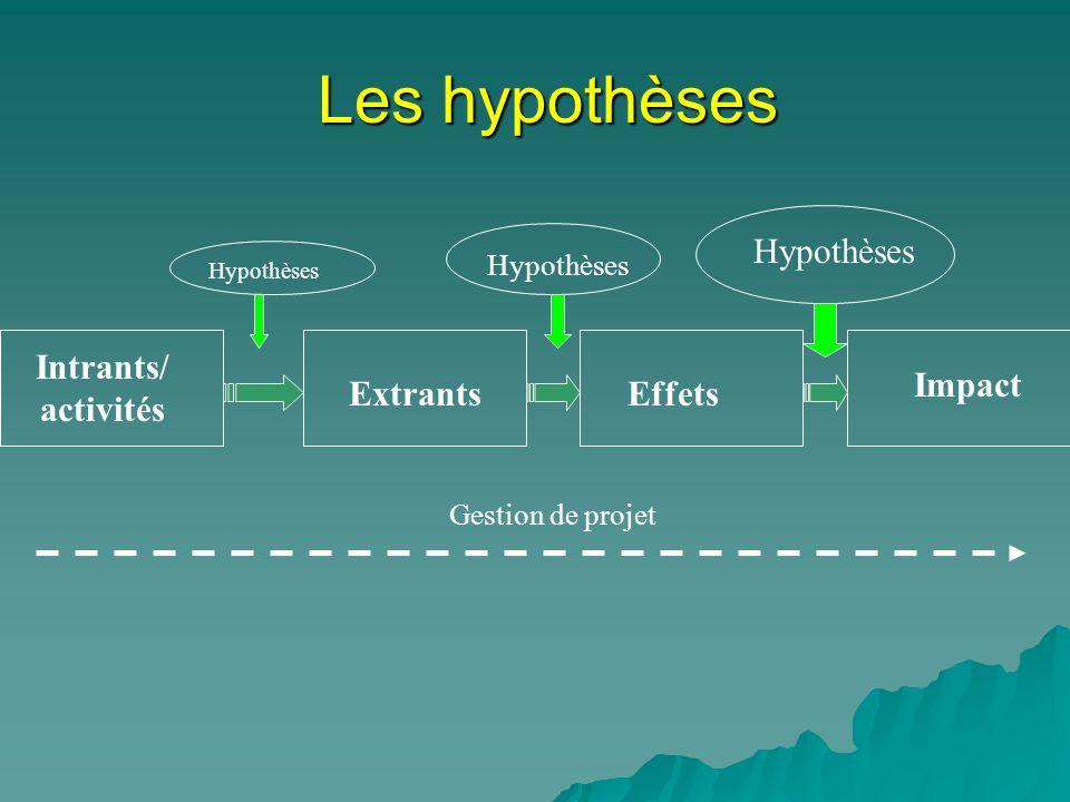 Les hypothèses Hypothèses Intrants/ activités Impact Extrants Effets