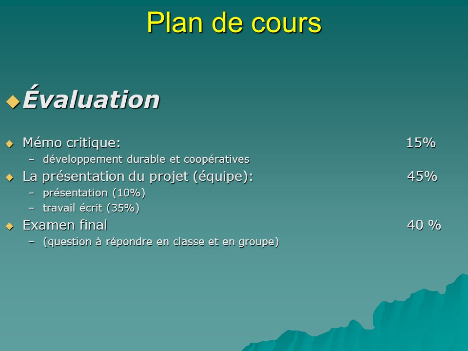 Plan de cours Évaluation Mémo critique: 15%