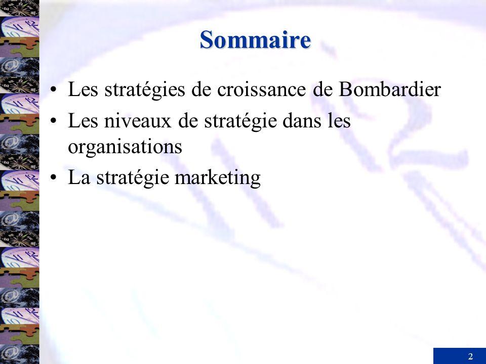 Sommaire Les stratégies de croissance de Bombardier