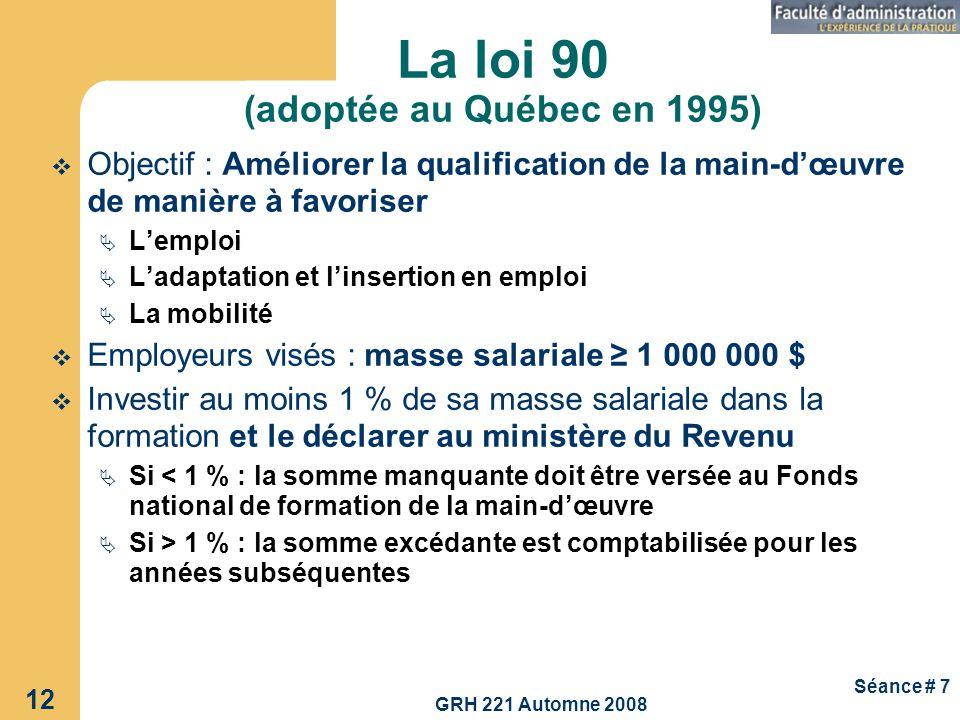 La loi 90 (adoptée au Québec en 1995)