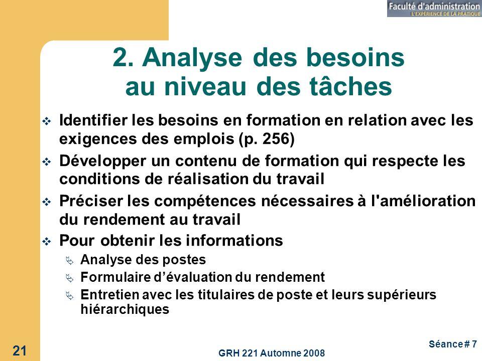 2. Analyse des besoins au niveau des tâches