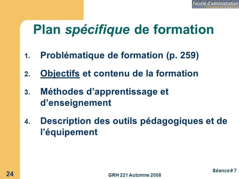 Plan spécifique de formation