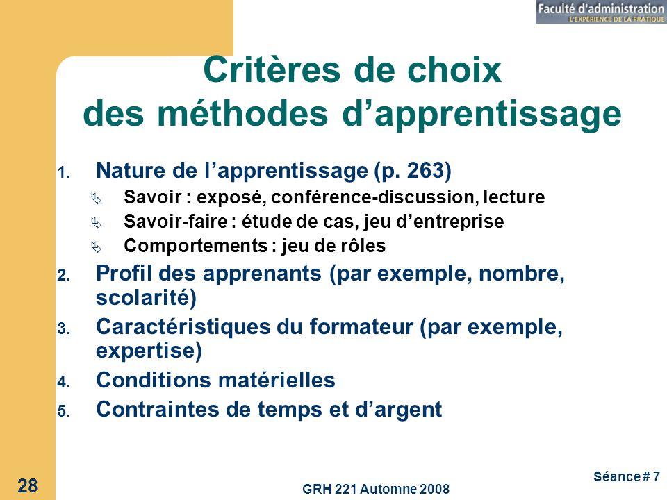 Critères de choix des méthodes d'apprentissage