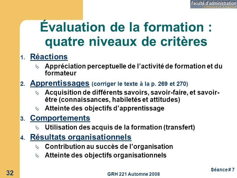 Évaluation de la formation : quatre niveaux de critères