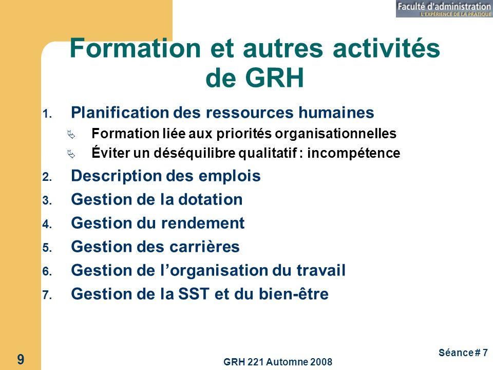 Formation et autres activités de GRH