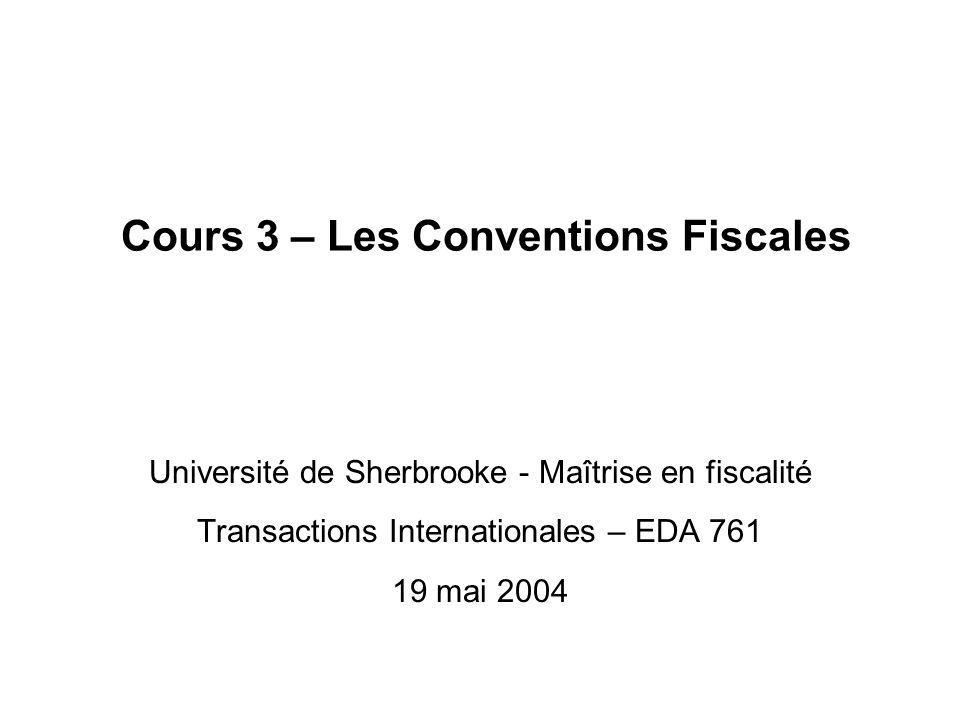 Cours 3 – Les Conventions Fiscales