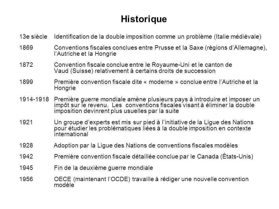 Historique 13e siècle Identification de la double imposition comme un problème (Italie médiévale)