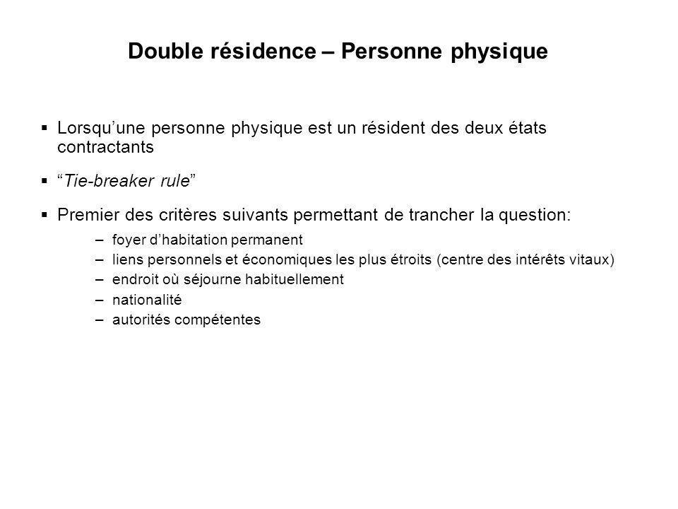 Double résidence – Personne physique