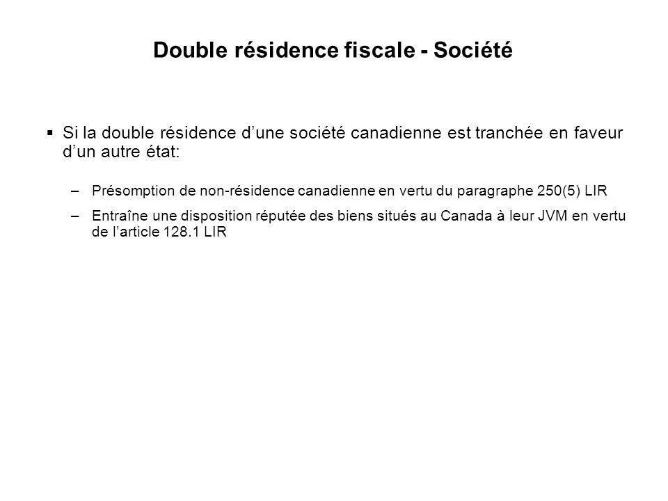 Double résidence fiscale - Société