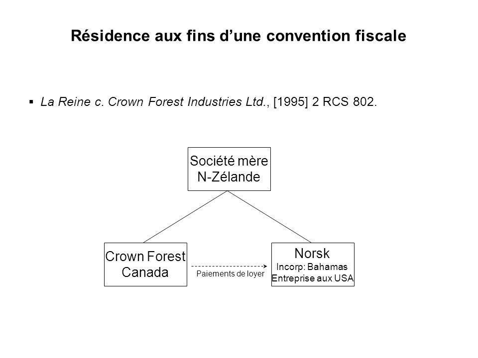 Résidence aux fins d'une convention fiscale