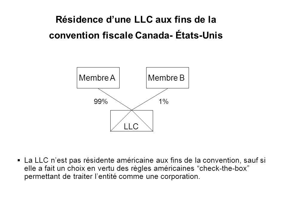 Résidence d'une LLC aux fins de la convention fiscale Canada- États-Unis
