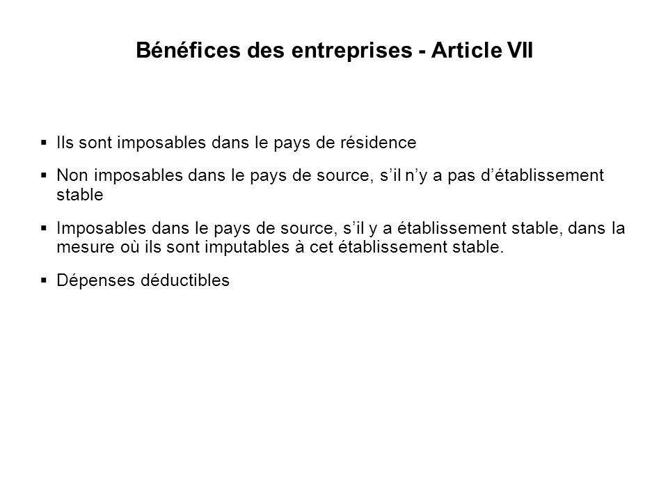 Bénéfices des entreprises - Article VII