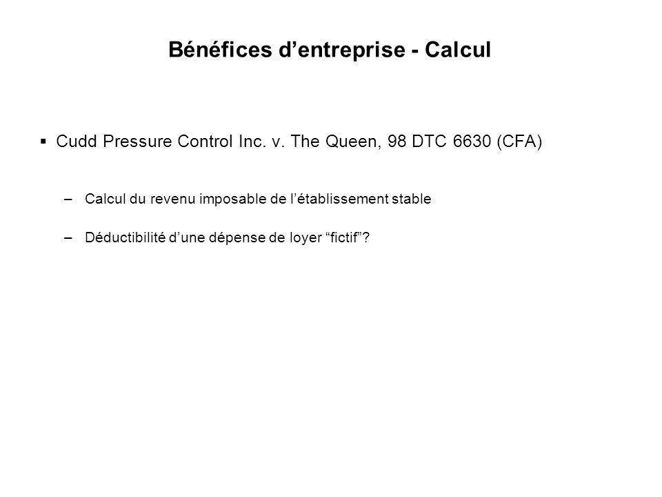 Bénéfices d'entreprise - Calcul