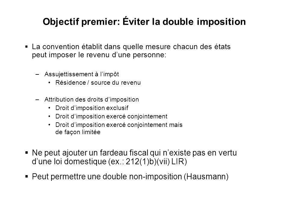 Objectif premier: Éviter la double imposition